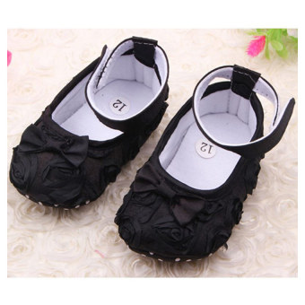 ... Moonar Anak Bayi Anak Perempuan Princess Busur Lembut Sepatu Datar Hitam 2