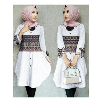 SB Collection Atasan Blouse Loona Kemeja Long Tunik-Putih