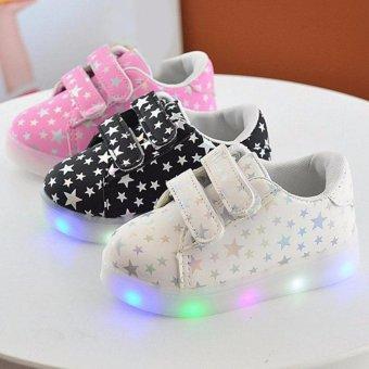 Galeri Gambar Freeshop Fashion Kids Unisex Star Polkadot Pattern LED Sneakers Light Up Flashing Shoes -