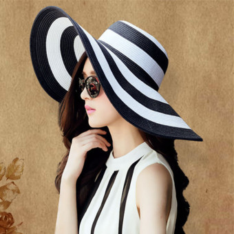 Harga Women Girl Straw hat Sunhat Beach Fashion Large brimmed hat Outdoor (black and white) - Intl