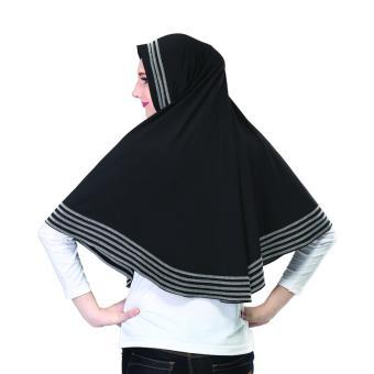 Detail Gambar Montaza Hijab Jilbab Instan Hitam Kerudung Geblus Spandek SMR556 Terbaru