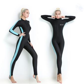 Women Long Sleeve Wetsuit Swimwear Diving Suit Spring Full Body Swimsuit (Blue) - intl