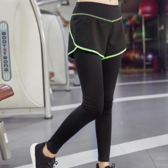 Wanita Mengenakan Celana Pendek Sumbu Peregangan Celana Ketat Legging Latihan Kebugaran Olahraga Dua Potong Celana Yoga