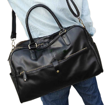 Harga Men Casual Faux Leather Large Tote Black