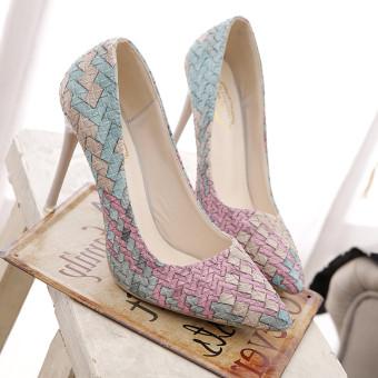 LCFU764 wanita fashion sepatu hak tinggi putri pernikahan pointing to her Office wanita her-10 cm Berwarna Merah Muda ...