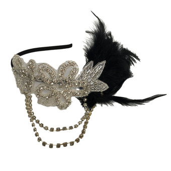 Harga Retro Black Feather Headpiece Flapper Chain Flower Hairband Great Gatsby Headband 1920s for Fancy Dress Party - intl