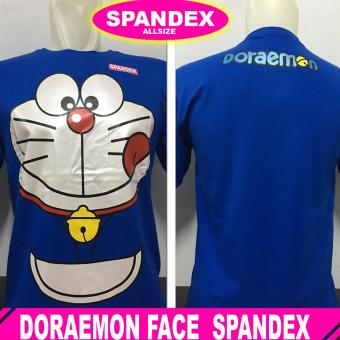 kaos distro spandek all size doraemon biru .