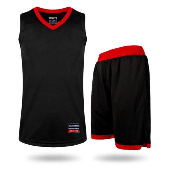 Latest Design Men and Boy's Outdoor Basketball Shirts and Shorts Jersey Set-Black+Red(001S) - intl
