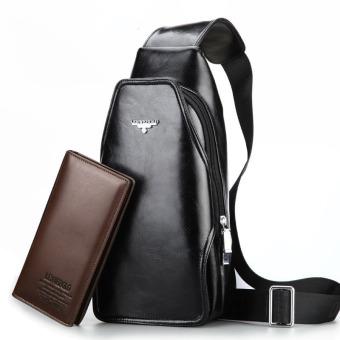 Fashion Genuine Leather Men Bag Leather Crossbody Bags Famous Brand Small Men's Messenger Bag(Black