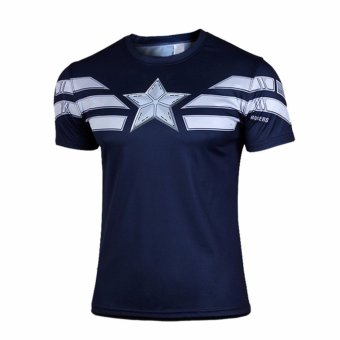 Harga Male's t-shirt Captain America sports fitness compression short sleeve shirts(blue) - intl