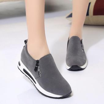 Harga Women Shoes Fashion Zipper Letter Decor Breathable Casual Shoes Women High Heel Platform Air Shoes Faux Suede Round Tote ( Grey ) - intl
