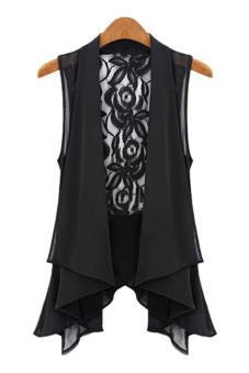 cardigan panjang yang ramping asimetris kain sutera tipis rompi renda (hitam )