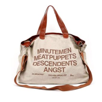 360dsc women english alphabet large shoulder bag khaki- intl