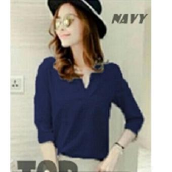 REYN SHOP Blouse Lisy Top NAVY | Atasan wanita | Baju Wanita | Blouse Wanita