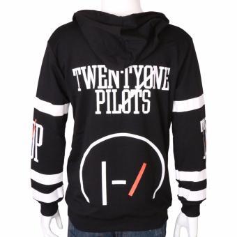 Gambar Produk Hequ Fashion New Twenty One Pilots Big Logo Hooded Male Streetwear Hip Hop Long Kangaroo Hoodies Clothing Black - intl Lengkap