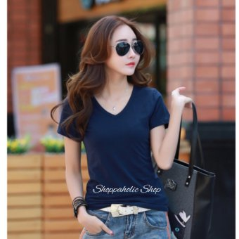 Harga Shoppaholic Shop Blouse V Neck Simply - Navy