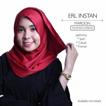 Erloz Hijab Instan Pashmina Maxmara Emboss - Maroon