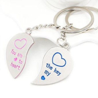 Harga A Pair of Lover Partner Keyring Love Heart Couple Keyfob Couples Key Chain Ring - intl