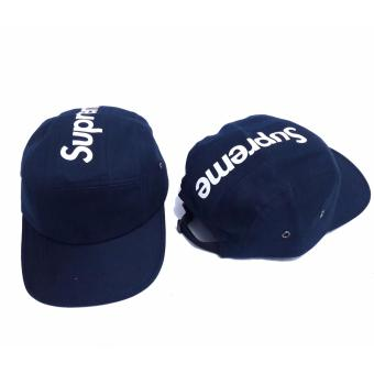 Harga SUPREME TOP PANEL STRIPE PANEL OFF NAVY CAMP CAP HAT BOX
