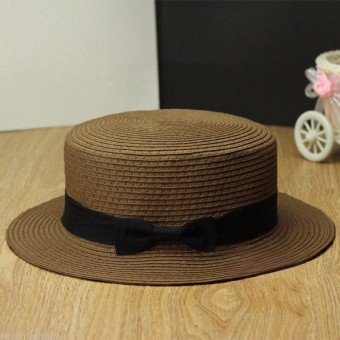 Harga NEW Women Derby Straw Hat Trilby Bow Bowknot Beach Porkpie Cap Boater Ribbon Band Coffee - Intl