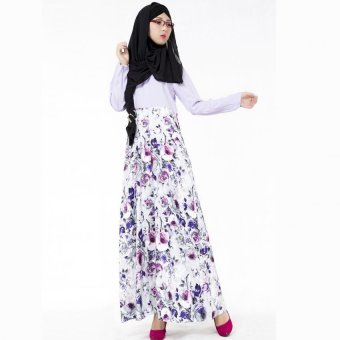 Harga New fashion long flower dress plus size women muslim dress maxi dress islamic abaya dubai dress turkish clothing(purple)