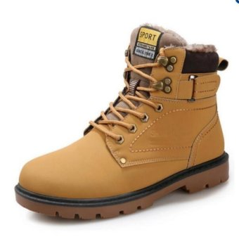 Harga Men fashion boots winter snow boots Ankle Boots Shoes(yellow) - intl