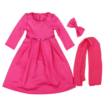 Harga Rorychen Islamic Muslim Abaya with Hijab & Headwear for Girls (Rose Red)