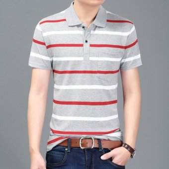 Men's Fashion Stripes Lapel Short Sleeve Polo Shirt Cotton T-shirt DF13 - intl