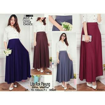 SB Collection Rok Payung Maxi Litta Long Skirt-Abu