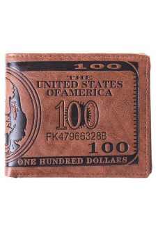 Harga HengSong US Dollar Bill Leather Wallet (Brown)