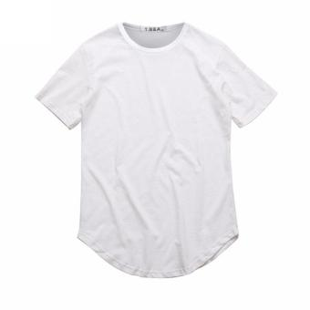 Harga Summer Street Style Curved Hem Long T-shirt (White) - intl