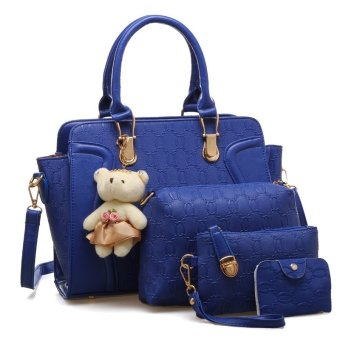 Harga Vicria 4in1 Tas Branded Wanita - High Quality PU Leather Korean Elegant Bag Style With Bear - Biru Tua