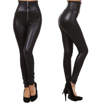 ... Wanita Pinggang Tinggi Hitam Elastik Celana Kulit Imitasi 5