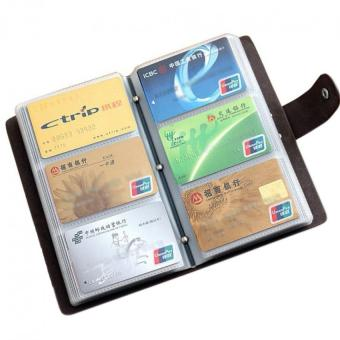 Boshiho® Leather Credit Card Holder Business ID Card Case Book Style 90 Count Name Card Holder Book (Brown) - Intl