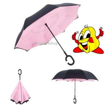 Payung Terbalik Reverse Umbrella With C Handle -pink polos