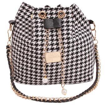 lalang women canvas handbag crossbody chain shoulder bags houndstooth