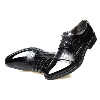 HengSong Men s Crocodile Lines Pointed Business Leather Shoes Black intl 5 .