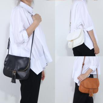 niceEshop perempuan PU kulit Crossbody Bag Rumbai Shoulder Bags putih Internasional 3 .