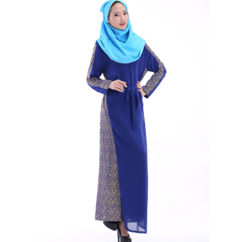 Harga Women Kaftan Abaya Muslim Dress Islamich Clothing Plus Size (Blue) - intl