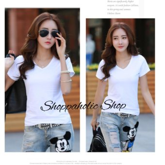 Harga Shoppaholic Shop Blouse V Neck Simply - Putih