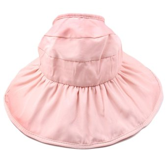 Harga Fashion Kid Girls Wide Brim Petal Shape Summer Sun Beach Bucket Hat Cap Sun Protection Hollow Out Style Pink - intl