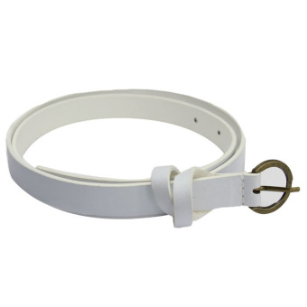 Harga Fashion Women's Belt Narrow Skinny Low Waist Thin Leather Loop Bow Belt White