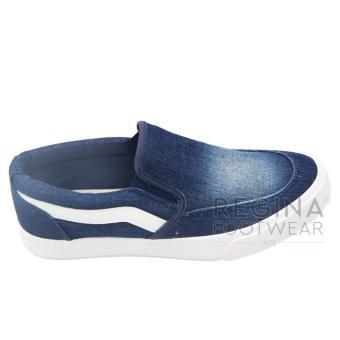 Detail Gambar Faster Sepatu Slip On Kanvas Wanita 1609-803 Dark Blue Terbaru