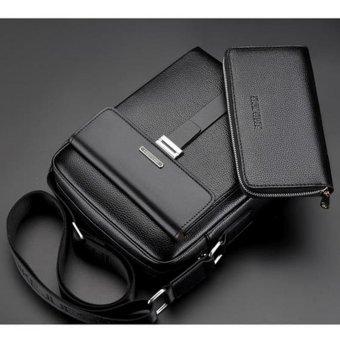 Detail Gambar New Men's Vertical Crossbody Bag Cowhide Leather Business Bag Present A Wallet Leisure Messenger Bag Shoulder Bag(Black Large) - intl Terbaru