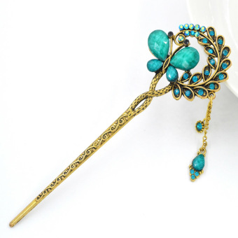 Harga Women Colorful Retro Crystal Flower Butterfly Hair Pins Hair Stick Hair ClipBlue
