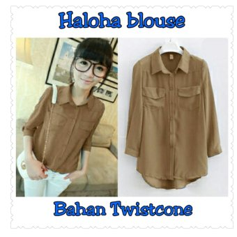 Harga SB Collection Atasan Blouse Haloha-Coklat