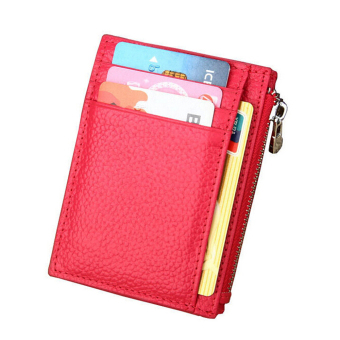 RFID Blocking Card Holder, Boshiho Lichee Pattern Leather Credit Card Case Organizer Compact Wallet(Hot Pink)