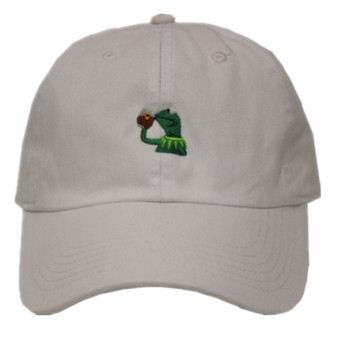"Harga Kermit The Frog ""Sipping Tea"" Adjustable Strapback Cap White - Intl"