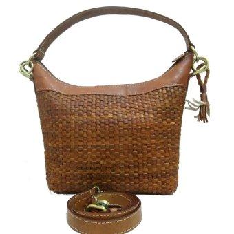 Lin's Craft Tas Kulit Asli - Hobo Long Anyam - Coklat Tua ...