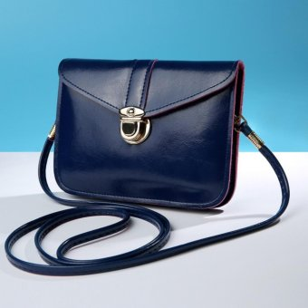 Spring and summer new female bag mini retro mobile phone bag leisure shoulder bag Cross Body(Dark blue) - intl